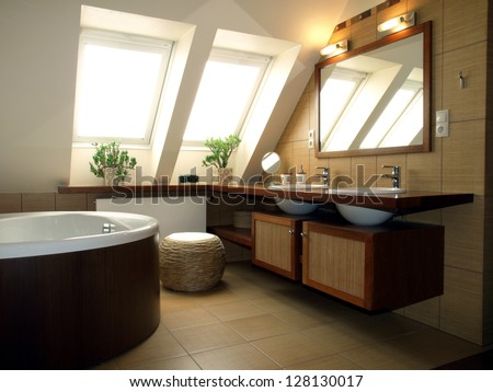 Inside of luxurious bathroom in modern house