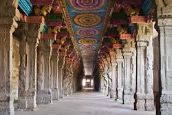 Inside of Meenakshi hindu temple in Madurai, Tamil Nadu, South India