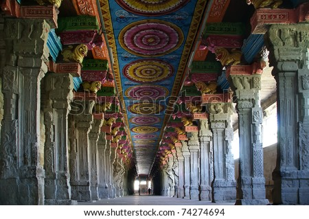 Inside Of Meenakshi Hindu Temple In Madurai, Tamil Nadu ...