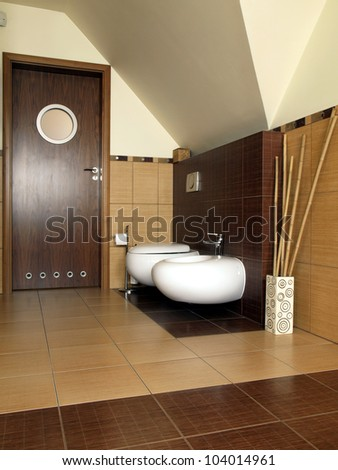 Inside of modern and luxury bathroom, vertical