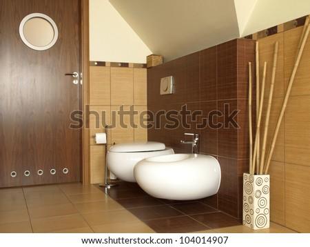 Inside of new designed bathroom, toilet and bidet
