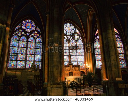 Inside of Notre Dame cathedral