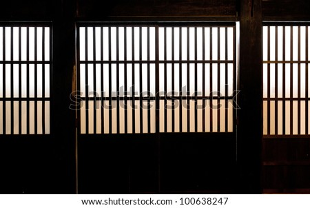 Inside of Paper Window of Old Japanese Samurai house in Takayama, Japan