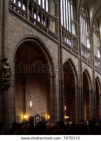 Inside of St. Vitus Cathedral, Prague, Czech Republic - stock photo