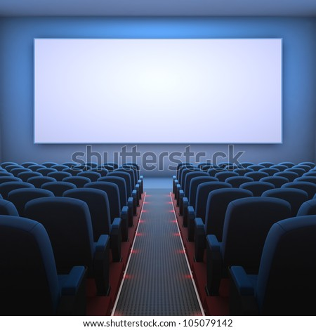 Inside of the cinema. Several empty seats waiting the movie on the screen. Your text or picture on the white screen.