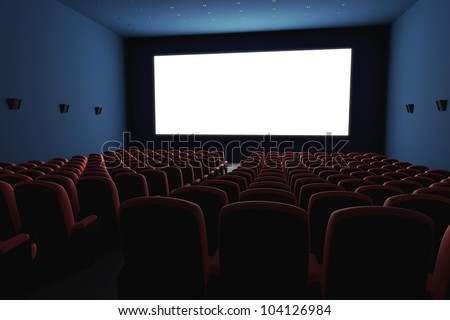 Inside of the cinema. Several empty seats waiting the movie on the white screen. Your text or picture on the white screen.