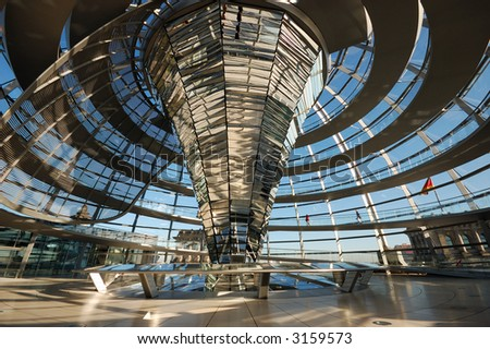 Inside of the Cupola of the Reichstag Building in Berlin, Germany