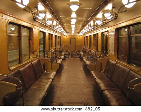 Inside of the oldest non-modernized subway car in Moscow (built in 1968)