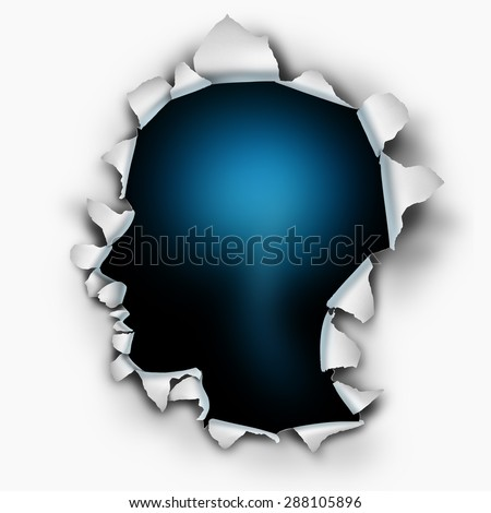 Inside of you human thinking concept as a paper burst hole with ripped torn edges shaped as a head on a white sheet that has been punctured open as a symbol for the mind and brain function.