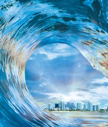 Inside Out Hollow Wave Surfer's view inside out of hollow crashing tube riding ocean wave cityscape inside it.