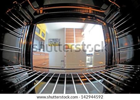 Inside oven with fisheye lens