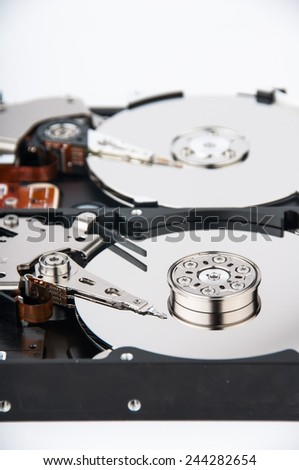 Inside photo of hard disk drive - closeup view