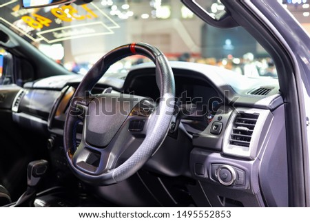 Inside pickup car, Power steering wheel and panel of button control  #1495552853