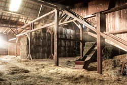Inside Rustic Wooden Old Barn Hay Bales Straw Sunlight Rays Light Beams Farm