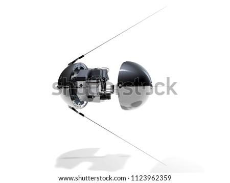 Inside Sputnik on white background, 3D rendering