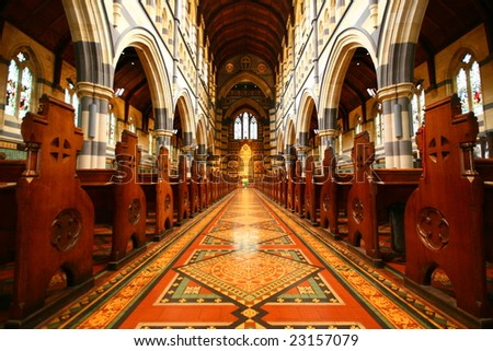 inside St Mary's Cathedral, Melbourne, New South Wales, Australia