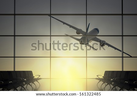 Inside Terminal with airplane shape flying on the sun