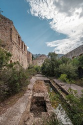 Inside the buildings of an abandoned silver mine at Argentella in Corsica