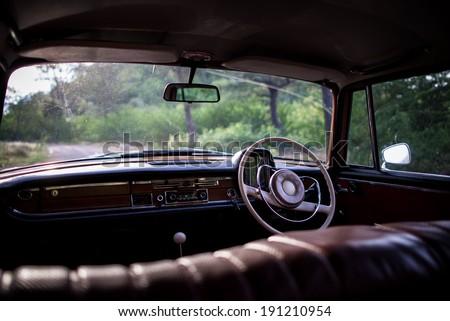 inside the car  classic car