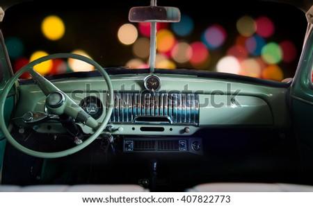 inside the car  classic car at...