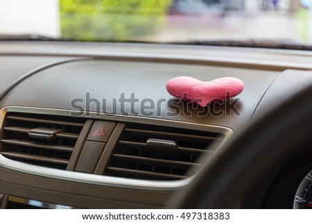 Inside the car with Pink heart #497318383