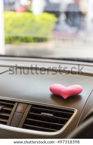 Inside the car with Pink heart #497318398