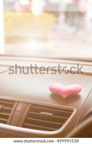 Inside the car with Pink heart with pink light filter #499995538