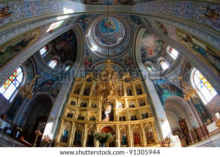 Inside the cathedral monasteries in Moldova Capriana