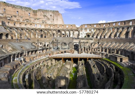 Inside the Coliseum of Rome Italy