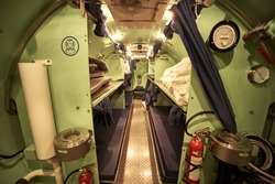 Inside the divers decompression chamber, bed room.