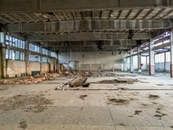 Inside the hall of the abandoned factory - Image