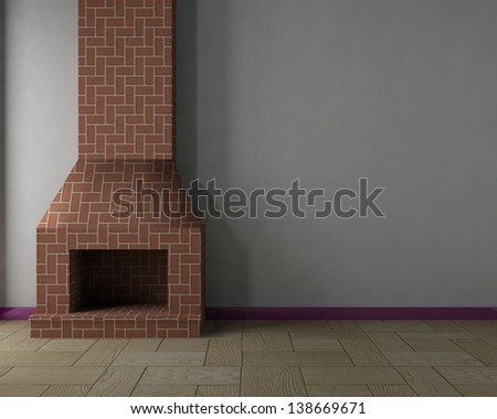 Inside the house with fireplace