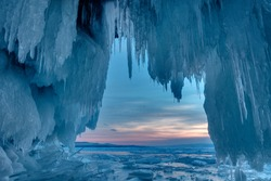 Inside the ice cave. Lake Baikal, Siberia, Eastern Russia
