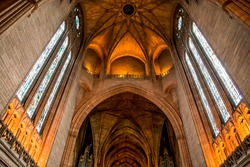 Inside the Liverpool Cathedral, Liverpool, Uk.