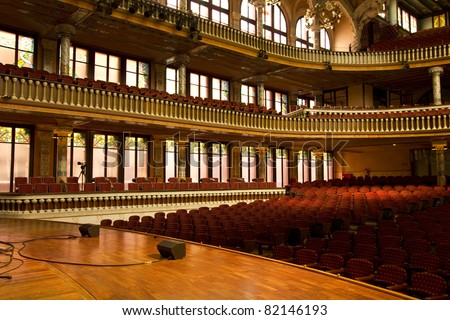 Inside the 'Palau de la M?sica Catalana '(Catalonian Music Palace), Barcelona, Spain. Headquarters of 'Catalan Choir' was founded in 1891. Foto stock ©