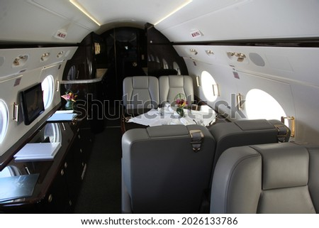 inside the private jet commercial plane  Foto stock ©