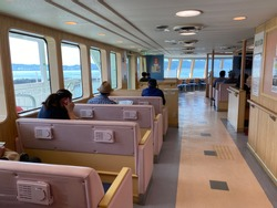 Inside The Sakurajima Ferry, is a transportation system used by locals to go to and from Kagoshima Port and Sakurajima Port, A 15-minute ride on the ferry offer you breathtaking views of the Kinko Bay