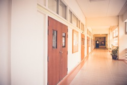 Inside the school building with sunlight
