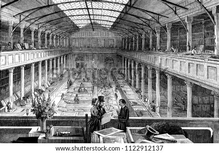 Inside view of a lithographic printing press, Paris, vintage engraved illustration. Magasin Pittoresque 1846. Photo stock ©