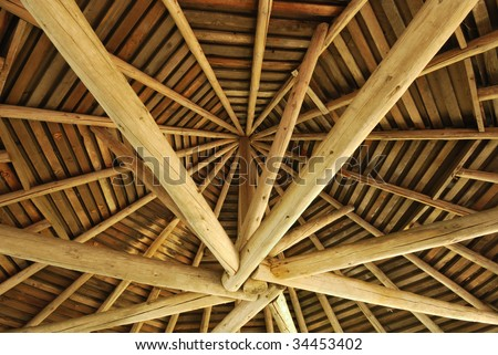 Inside view of a round wooden structure