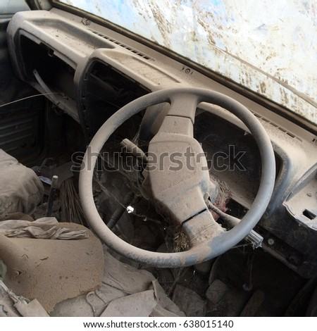 Inside view of an abandoned car #638015140