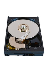 Inside view of hard disk isolated on white background