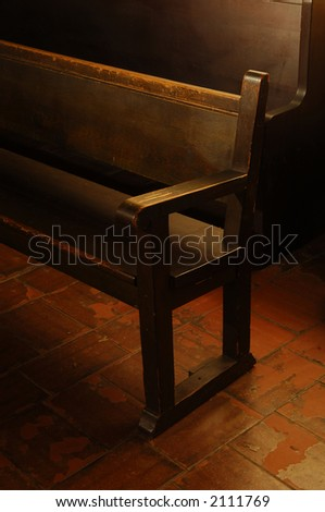 Inside view of vintage mission church pews
