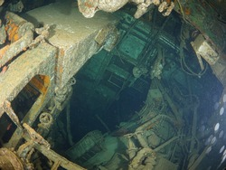 inside wreck sunken ship adventure