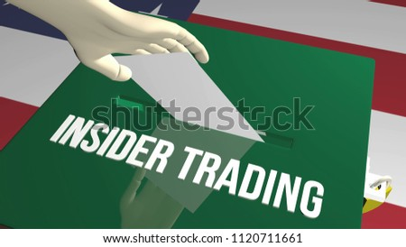 Insider trading concept. 3D illustration ballot and us flag.