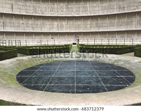 Insides of an abandoned cooling tower #683712379