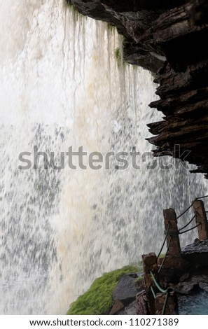 Insight view of waterfall in Canaima national park - Venezuela, Latin America