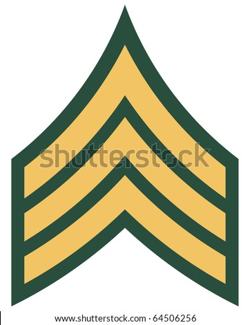 Insignia of American military rank of sergeant, isolated on white background.