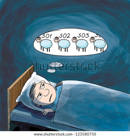 Insomnia. He counting sheep. Cartoon illustration.