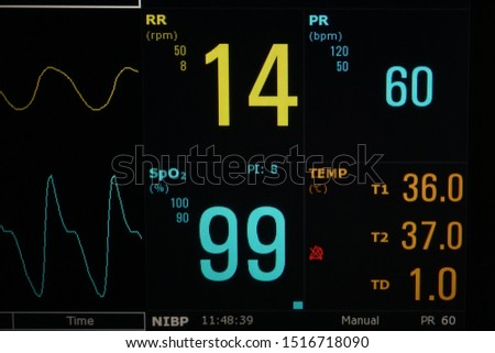Inspect Vital signs monitor screen .